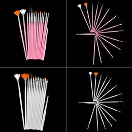 Wholesale Wholesale Nail Brushes - 15pcs Professional Acrylic Nail Art Brush Set Design Painting Dotting Pen White Pink Nail Art Brushes Pen Gel Polish False Nail Brushes