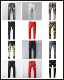 Wholesale Men S Jeans Classic Cotton - Distressed France Fashion Pierre Straight Jeans Men's Biker Jeans Hole Stretch Denim Casual Jean Men Skinny Pants Elasticity Ripped Trousers