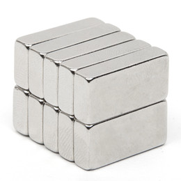 Wholesale Neodymium Magnets N52 Block - Wholesale- 10pcs Rare Earth Neodymium Permanent Magnet 19.6*10*4.6mm Block N52 Rectangular Magnet Very Powerful Acoustic Field Speaker
