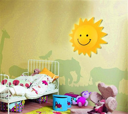 Wholesale Children Room Cartoon Lamps - Kid Room Lights beautiful Cute Wall lamp cartoon smiley Sun Light children indoor lights decorative lamps bed lamp indoor led night light