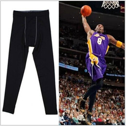 Wholesale Elastic Waist Denim Leggings - Men's basketball football sport tight pants running fitness compression leggings 5 color stretch pants riding pants free shipping