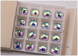 Wholesale 18mm Round Flatback Glass - 2006 18mm Crystal AB 54pcs Two Holes Flatback Round Glass Crystal Beads Sew on Rhinestones