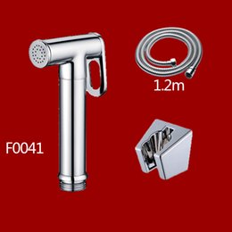 Wholesale Brass Bidet Spray - Free shipping Solid Brass chrome Toilet Shattaf Shower Women Handheld Bidets kits Portable Spray With Hose And Holder F004