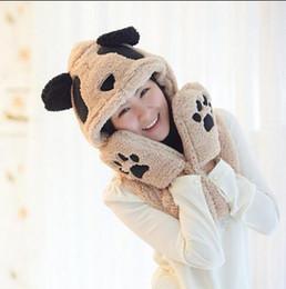 Wholesale Panda Scarf Set - Wholesale-1 Pcs New Autumn And Winter Cute Panda Thick Comfortable Warm Women Scarf Scarves Hats Gloves Three Set Novelties Free Shipping