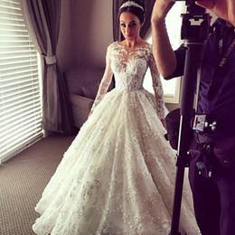 Wholesale Zuhair Murad Sexy Wedding Dress - Zuhair Murad 2018 Fall Wedding Dresses With Breathtaking Illusion Bateau Neck Sheer Long Sleeves Bridal Gowns Lace Appliques Chapel Train