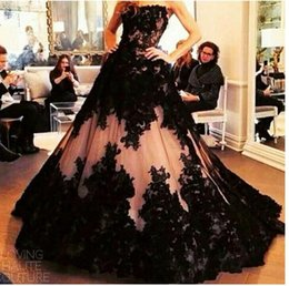 Wholesale Evening Dresses Black Nude Sexy - 2016 Arabic Sexy Black Full Lace Evening Dresses Wear Strapless Nude Tulle Appliques Sweep Train Long Formal Vestidos Prom Party Gowns