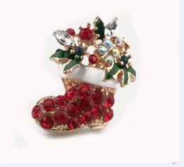 Wholesale Cheap Santa Christmas Decorations - New Coming Brooch Christmas Decorations Santa Boot Brooch Crystal Cute Cheap Special Bridal Accessories Shiny Beautiful Christmas Gifts