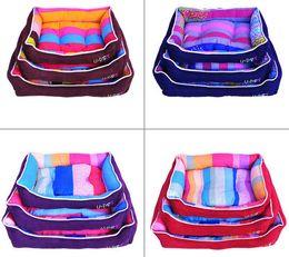 Wholesale Dog Cotton Nest - Lovely Rainbow Cotton Flannel Pet House Warm Dog Cat House Kennel Soft Washable Dog Cat Bed Nest For Winter 5 Color 3 Size Min Order 1PCS