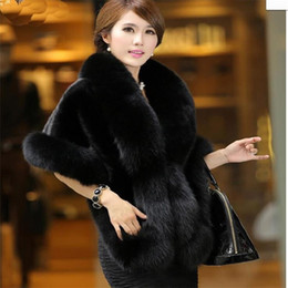 Wholesale Women Winter Fur Coat Mink - Wholesale-Hot!New upgrade product quality Winter fox fur coat High quality mink poncho bridal wedding dress shawl cape women vest fur coat