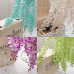 Wholesale Valentines Decorations Diy - 4Colors Artificial Wisteria Silk Flower For DIY Home Party Wedding Garden Floral Decoration Living Room Valentine Day