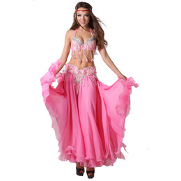 Wholesale Long Chiffon Belly Dance Skirts - Stage Performance Dance Wear Belly Dance Oriental Style Beads Clothing Set with Long Skirt Costumes Belly Dance