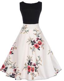 abbigliamento swing Sconti Abito estivo donna 2018 Abito a contrasto colore Abito floreale Retro Swing Casual anni '50 Vintage Abiti Rockabilly Vestidos