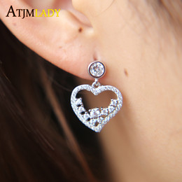Wholesale Bling Earings - 2017 Real Sale Brincos Earings Brinco Sparking Bling Jewelry 2018 Valentines Gift Charm Pave Aaa Shape Girlfriend 925 Earring