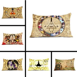 Wholesale Unique Maps - Wholesale- Unique Chic Funny Gravity Falls Bill Cipher Map Bedding Rectangle Throw Pillow Protector Pillow Case Cover