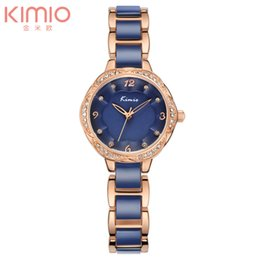 Wholesale Kimio Brand For Watch - New Arrival Kimio Brand Floral Watch Gold Bracelet Quartz Watch Simulation Ceramic Wrist Watch for Womenluxury watches