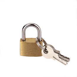 Wholesale Mini Lock Key Wholesale - Mini Size Copper Padlock With Keys - Safely Lock Lockers, Tool Box, Backpack or Containers. Includes 2 Keys