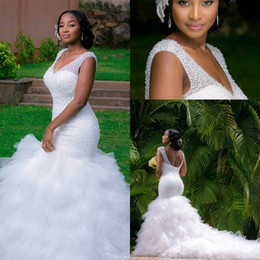 Wholesale Organza Style Wedding Dresses - Arabic Style Plus Size Wedding Dresses 2016 Deep V Neck Beading Layers Mermaid Wedding Gowns Chapel Train Lace Up Back Beach Bridal Dress