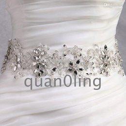 Wholesale Crystal Beaded Bridal Belts - Wholesale-Free shipping 2015 Hot Wedding dress sash clear crystal beaded wedding dress waistband wedding dress belt bridal dress belts 10