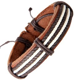 Wholesale Tribal Bracelets For Men - Retro Brown Leather Bracelet for Men Women Adjustable Chic New Surfer Tribal MultiWrap Mens Pu Leather Hemp Cuff Bracelets
