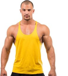 Wholesale Wholesale Blank Tanks - Summer Stly Men Blank Stringer Y Back 100%Cotton Tank Top Gym Bodybuilding Clothings Fitness Shirt Sports Vests Muscle Tops Free Shipping
