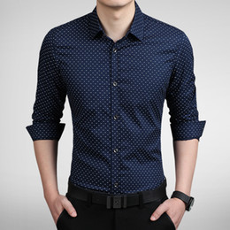 Wholesale Mens Dotted Shirts - New Fashion Dot Men Shirt Slim Fit Mens Dress Shirts Camisas Hombre Long Sleeve Vestidos Social Shirt Men 5Colors M-5XL