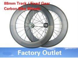 Wholesale Bike Speed Hub - 23mm width 700c bicycle wheels track 88mm clincher carbon track wheel fixed gear single speed wheelset with hub Novatec 165 166