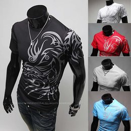 Wholesale Male Dragon Clothing - Wholesale- New T Shirts For Men Fashion 3D Novelty Dragon Printing Tattoo Male O Neck T Shirts,Casual Brands Men's Clothing,XXL Size