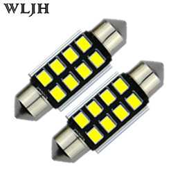 Wholesale Blue 36mm Festoon - WLJH Canbus 2835 SMD LED Interior Light Dome C5W Festoon Interior Bulb Globe 31mm 36mm 39mm 41mm Led Lamp Light 12V