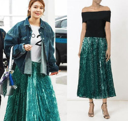 Wholesale Gorgeous Short Skirts - Gorgeous Green Sequins Short Women Skirts Blingbling Fashion Skirts Womens Sexy Skirt Midi Skirt faldas 102305-1