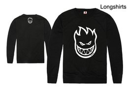 Wholesale new SPITFIRE WHEELS Skateboard Zombie Flaming Head Logo man men male sports Pullover long sleeve t shirt