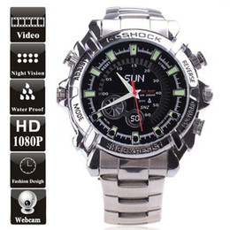 Wholesale Stainless Steel Spy Camera Watch - 8GB Waterproof 1080P IR Stainless Steel Spy Watch camera DVR Support Night Vision can resist slight shock