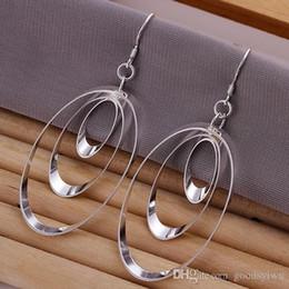 Wholesale 925 Circle Earrings - Hot 925 Sterling silver Earrings Fashion Multi Circles Pendant Round Earrings Good Christmas Gift for women E180
