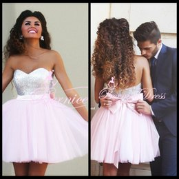 Wholesale Cheap Party Dresses Fast Shipping - Fast Shipping Sweetheart Sequins A-line Pink Short Prom Dresses Custom Made Cheap Celebrity Party Gowns 2015 Vestido De Renda