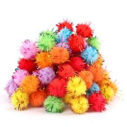 Wholesale Hair Bulb - Wholesale- New 100Pcs Bag Wool Materials DIY Multicolour Jincong Bulb Gold Hair Ball Pompon Toys Handicafts For Kids