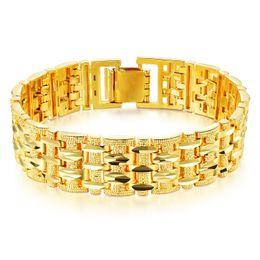 Wholesale chunky chain link bracelets - Gold Color Bracelet Bangle For Men Luxury Wedding jewelry 20cm*15mm Chunky Link Chain Bracelet KS509