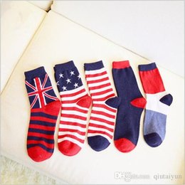 Wholesale Cheap Usa Socks - Hot sales cheap socks for men wool socks Casual Crew Ankle USA national flag Stripes Socks England national flag stripes socks LA27-2