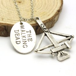 "Wholesale Crossbow Charms - American Hot Show Vintage Letter Necklaces Pendants The Walking Dead Crossbow Necklace ""FEAR THE LIVING"" Charm Necklace Gifts"