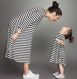 Wholesale Dress Sellers - 2018 Spring And Summer Hot Seller Daughter Dress White and Black Striped Cotton Maxi Dresses Girls Clothes