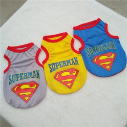 Wholesale Dogs Superman - Teddy dog elite jersey clothes spring summer cool refreshing mesh vest superman teddy dog vest Superman print summer wholesale Dog Apparel