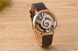 Wholesale Music Buckles - 2016 Newest Cool Watch Retro Vogue Women Watches Note Music Notation Leather Quartz Wristwatch Lady Girls Clock Hour Happy Gift