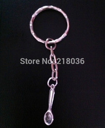 Wholesale Vintage Powder - 50pcs Vintage Silver SNUFF POWDER Spoon Pendants Key Chains Key Rings Car Bag Charms Ring For Keys Car DIY Bag Key Chain Handbag Gift P61