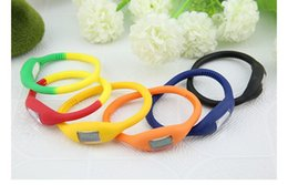 Wholesale Silicone Watch Waterproof 1atm - anion Silicone bracelet new sports anion Silicone watch unisex fashion 1ATM waterproof led digital watch colorful with opp bag free shipping