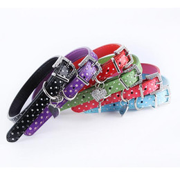Wholesale Spike Leather Dog Harness - Polka Dot Pendant Leather Buckle Pet Dog Collar Puppy Cat Pet Spiked Neck Strap Free&Drop Shipping