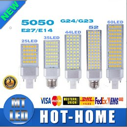 Wholesale Corn Light Led E27 9w - SMD 5050 LED corn bulb Horizontal Plug lights led lamp 180 degeree E26 E27 E14 G24 G23 5W 7W 9W 10W 12W 14W 15W 64 LEDs lighting AC 85-265V