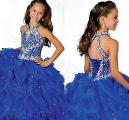 Wholesale Glamorous Flower Girl Dress - 2018 Glamorous Halter High Neckline Beaded Straps Beading Little Girls Pageant Dress Pleated Blue Organza Flower Girls Dress HY1188