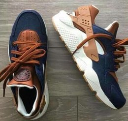 Wholesale Custom Rubbers - 2018 Huarache ID Custom Breathe Running Shoes For Men Women,Woman Mens navy blue tan Air Huaraches Multicolor Sneakers Athletic Trainers