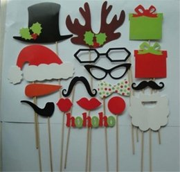 Wholesale Wedding Props Wholesale - 17 pcs lot DIY Photo Booth Props Mustache Lip Hat Antler Gift Stick Christmas Party
