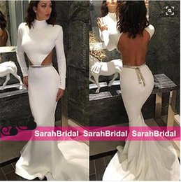 Wholesale Kim Kardashian Long Sleeve Dresses - Kim Kardashian White Open Back Evening Dresses mermaid Style Cut Out Design Simple Long Prom Gowns for Formal Pageant Celebrity Wear Sale