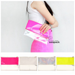 Wholesale Handbag Neon Color - Wholesale-Designer Wholesale Neon Hologram Two Tone Transparent Women Handbag Clutch Purse IT Bag Multi Color Free Shipping