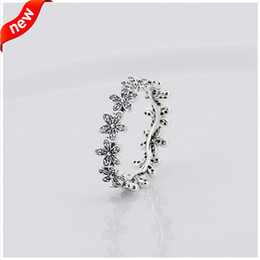 Wholesale Pandora Engagement Rings - Compatible with Pandora jewelry ring daisy silver rings with cubic zircon 100% 925 sterling silver jewelry wholesale DIY